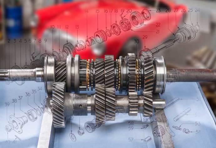 Getriebe mit zugehörigem Detailplan